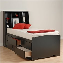 Black Tall Full Bookcase Platform Storage Bed