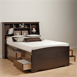 Tall Double / Full Bookcase Platform Storage Bed in Espresso Finish