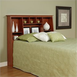 Prepac Slant-Back Tall Full Queen Bookcase Headboard in Cherry