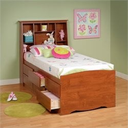 Twin Tall Bookcase High-Platform Storage Bed in Cherry