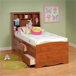 Prepac Monterey Twin Tall Bookcase High-Platform Storage Bed in Cherry