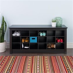 Prepac Black Shoe Storage Cubbie Bench