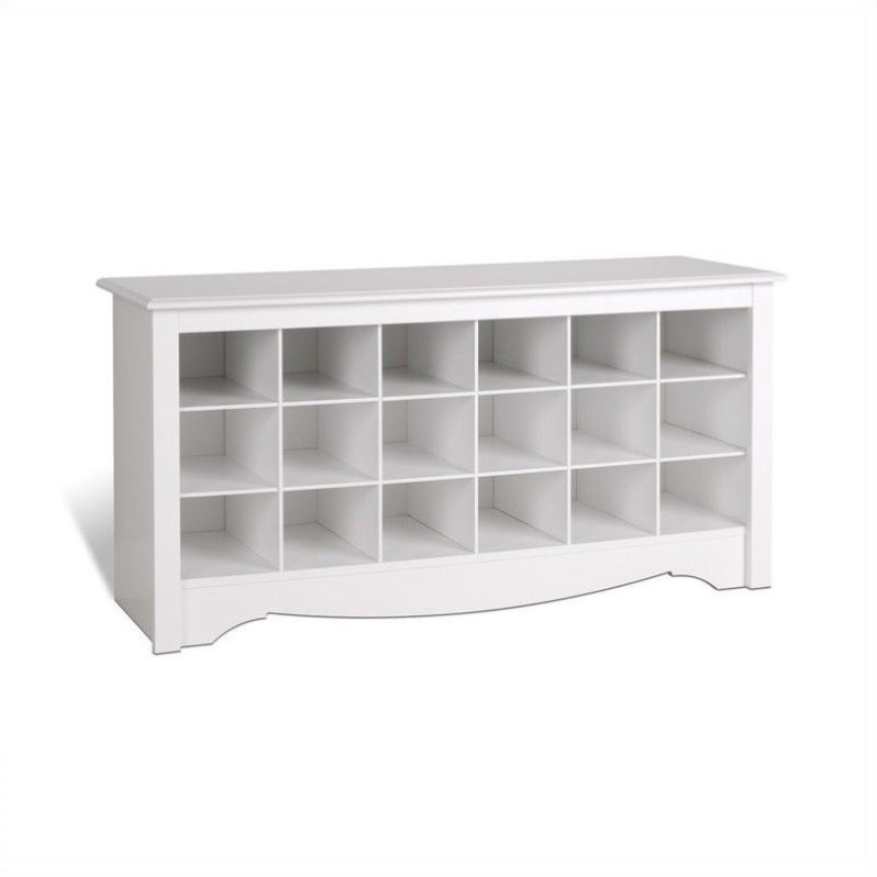 18 Cubby Shoe Storage Bench In White