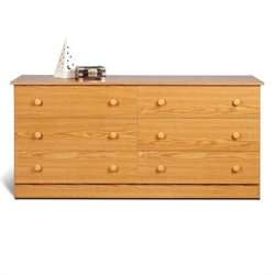 6 Drawer Double Dresser in Oak