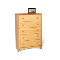 Prepac Sonoma 5 Drawer Chest in Maple Finish