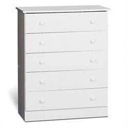 Prepac 5 Drawer Chest in White Finish