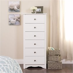 6 Drawer Lingerie Chest in White Finish
