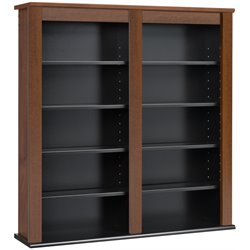 Double Floating Media Wall Storage in Cherry and Black