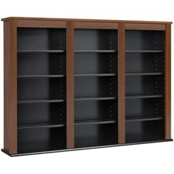 Prepac Triple Floating Media Wall Storage in Cherry and Black