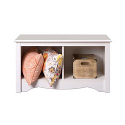 White Twin Cubby Bench