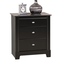 Prepac Kallisto 3 Drawer Nightstand in Black Finish