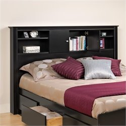 Full / Queen Bookcase Headboard in Black Finish