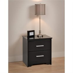 Prepac Coal Harbor 2 Drawer Nightstand in Black