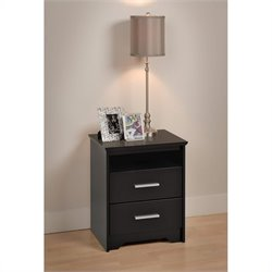 Prepac Coal Harbor Tall 2 Drawer Nightstand in Black Finish