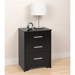 Tall 3 Drawer Nightstand in Black