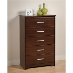 Prepac Coal Harbor 5 Drawer Chest in Espresso Finish