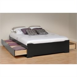 Prepac Coal Harbor Platform Storage Bed in Black Finish - Queen