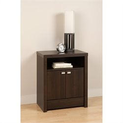 Prepac Series 9 Designer 2 Door Tall Nightstand in Espresso