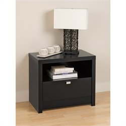 Prepac Series 9 Designer 1 Drawer Nightstand in Black
