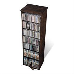 Prepac 2-Sided Spinning Media Storage Tower in Espresso