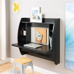 Prepac Floating Computer Desk with Storage in Black