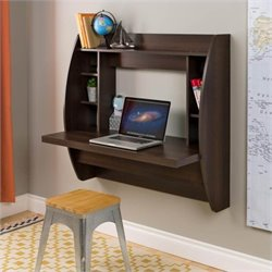 Prepac Floating Computer Desk with Storage in Espresso
