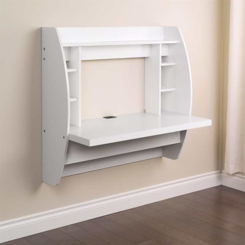 Prepac White Floating Computer Desk with Storage