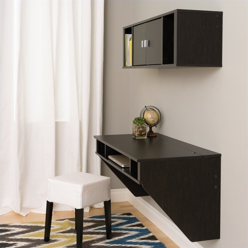 Prepac Designer Floating Desk with Hutch in Washed Ebony Finish