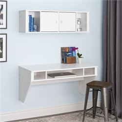 Floating Desk with Hutch in Fresh White Finish