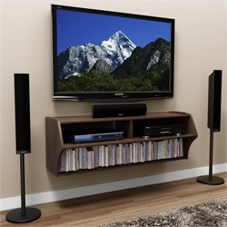 Wall Mounted Home Entertainment Console in Espresso
