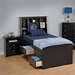 Black Twin Bookcase Platform Bed 3 Piece Bedroom Set