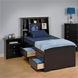 Prepac Sonoma Black Twin Bookcase Platform Bed 3 Piece Bedroom Set