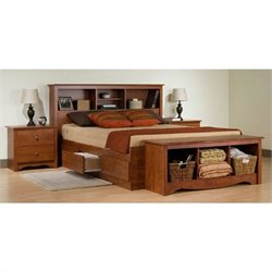 Cherry Queen Bookcase Platform Bed 3 Piece Bedroom Set