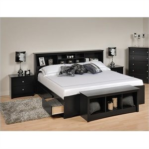 Black King Bookcase Platform Bed 3 Piece Bedroom Set