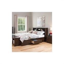 Bookcase Platform Bed 2 Piece Bedroom Set in Espresso