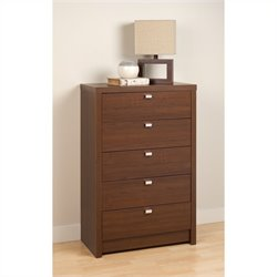 Prepac Series 9 Designer 5 Drawer Chest in Medium Brown Walnut