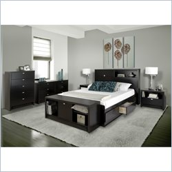 Prepac Series 9 Designer 4 Piece Bedroom Set in Black