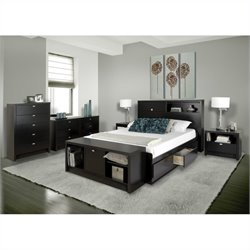 Prepac Series 9 Designer 5 Piece Bedroom Set in Black