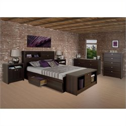 Prepac Series 9 Designer 5 Piece Bedroom Set in Espresso