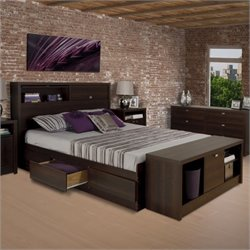 Prepac Series 9 Designer Bed and Bench in Espresso