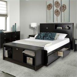 Prepac Series 9 Designer Bed and Bench in Black