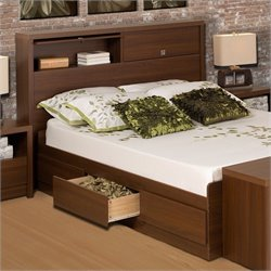 Prepac Series 9 Designer Bed in Medium Brown Walnut - Full