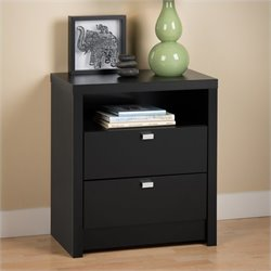 Prepac Series 9 Designer Tall 2 Drawer Nightstand in Black