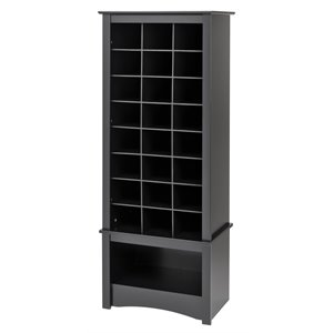 Tall Shoe Cubbie Cabinet in Black