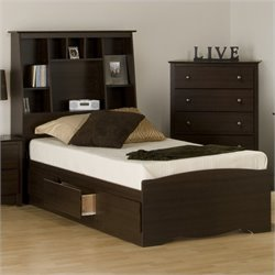 Twin Tall Bookcase Platform Storage Bed in Espresso