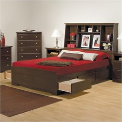 Full Tall Bookcase Platform Storage Bed in Espresso