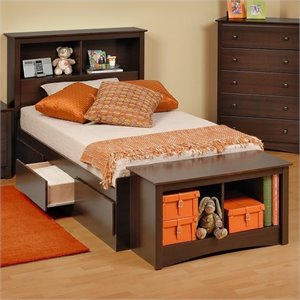 Twin Bookcase Platform Storage Bed in Espresso