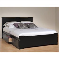 Prepac Coal Harbor Queen Platform Storage Bed with Headboard in Black