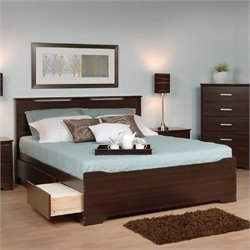 Prepac Coal Harbor Full Platform Storage Bed with Headboard in Espresso