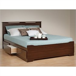 Queen Platform Storage Bed with Headboard in Espresso